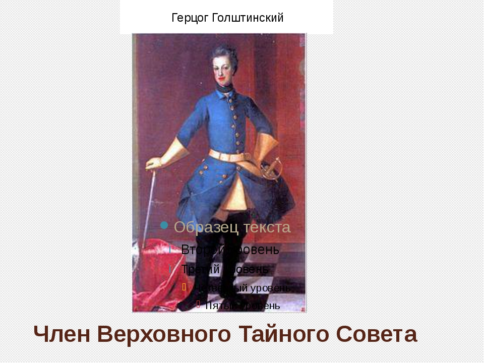 Член Верховного Тайного Совета Герцог Голштинский