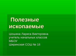 Полезные ископаемые Шошина Лариса Викторовна учитель начальных классов МБОУ