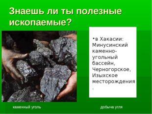 Знаешь ли ты полезные ископаемые? каменный уголь добыча угля  в Хакасии: Ми