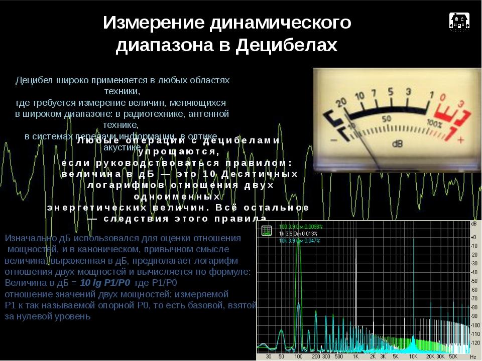 Измерение динамического диапазона в Децибелах Децибел широко применяется в лю...