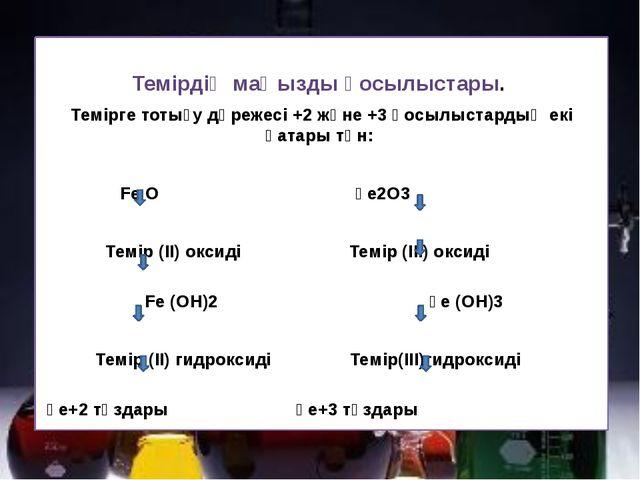 Темірдің маңызды қосылыстары. Темірге тотығу дәрежесі +2 және +3 қосылыстард...