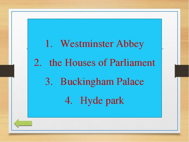 Westminster Abbey the Houses of Parliament Buckingham Palace Hyde park