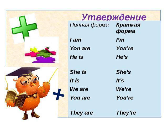 Утверждение + Полная форма Краткая форма I am I'm You are You're He is He's...