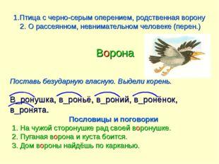 1.Птица с черно-серым оперением, родственная ворону 2. О рассеянном, невнимат