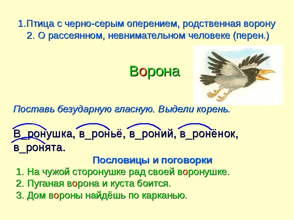1.Птица с черно-серым оперением, родственная ворону 2. О рассеянном, невнимат...