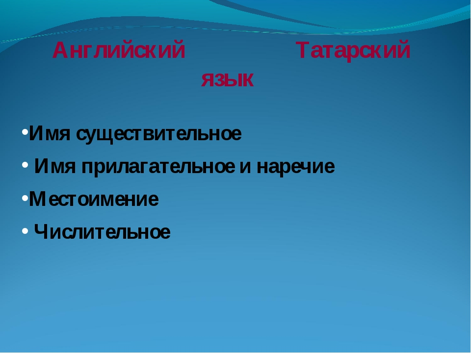 Английский Татарский язык Имя существительное Имя прилагательное и наречие М...
