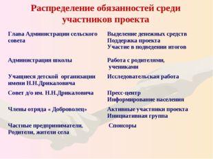 Распределение обязанностей среди участников проекта Глава Администрации сельс