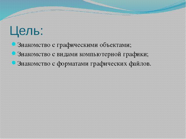 Цель: Знакомство с графическими объектами; Знакомство с видами компьютерной г...