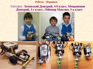 Роботы - уборщики Авторы: Лозовский Дмитрий, 4 б класс, Мещанинов Дмитрий, 3