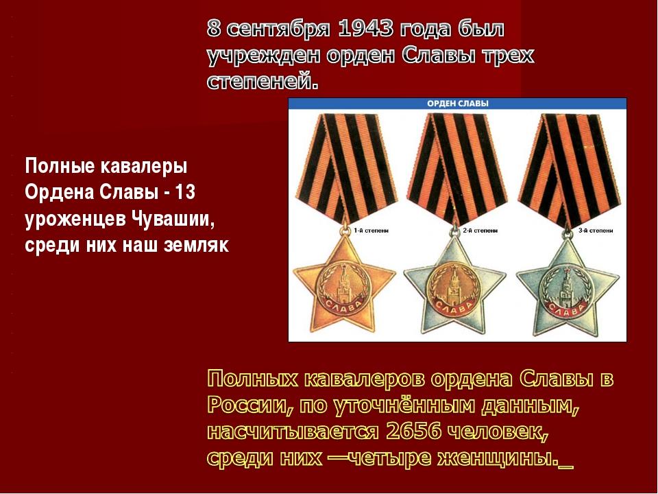 Полные кавалеры Ордена Славы - 13 уроженцев Чувашии, среди них наш земляк