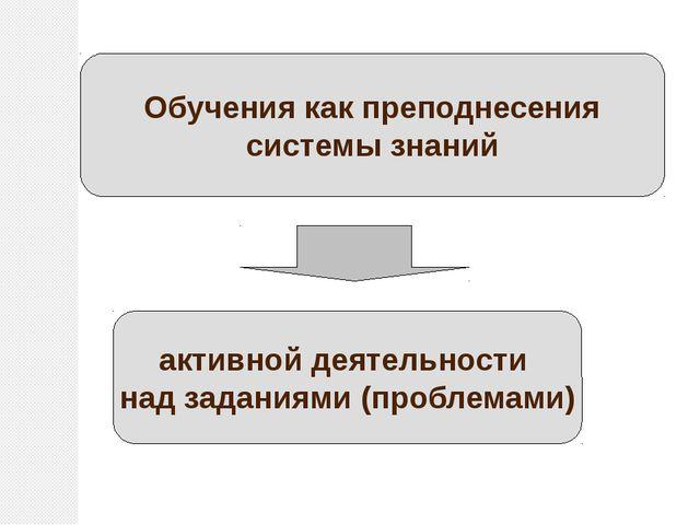 Обучения как преподнесения системы знаний активной деятельности над заданиями...