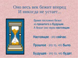 Время постоянно бежит из прошлого в будущее. А бежит оно через настоящее. Нас