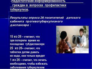 -Недостаточная информированность граждан в вопросах профилактики туберкулеза