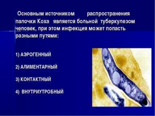 Основным источником распространения палочки Коха является больной туберкулез