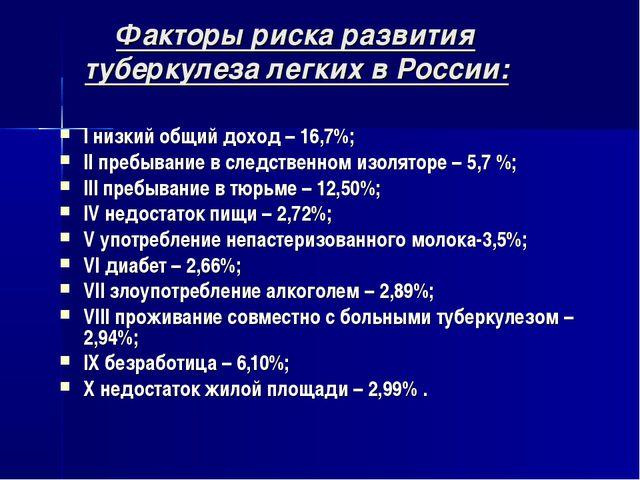 Факторы риска развития туберкулеза легких в России: I низкий общий доход – 1...