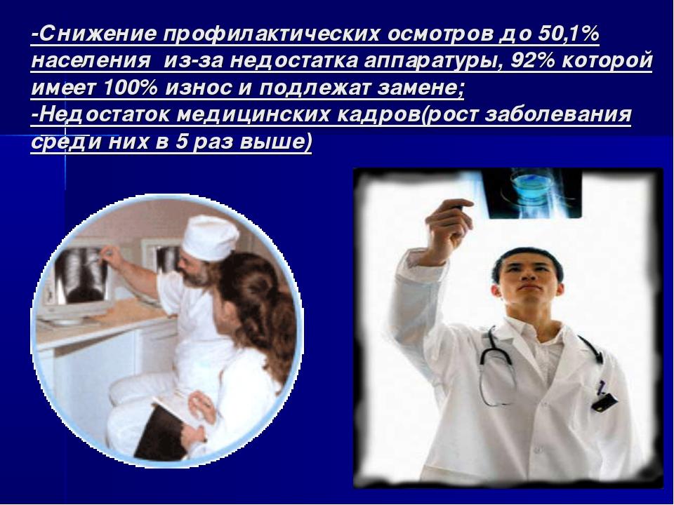 -Снижение профилактических осмотров до 50,1% населения из-за недостатка аппар...