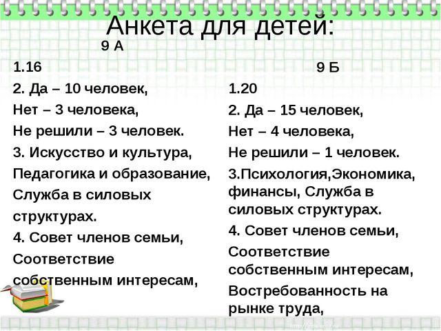Анкета для детей: 9 А 16 2. Да – 10 человек, Нет – 3 человека, Не решили – 3...