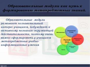 Образовательные модули как путь к формированию метапредметных знаний. Образо