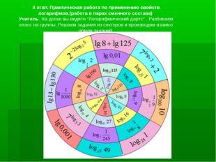 II этап. Практическая работа по применению свойств логарифмов.(работа в парах