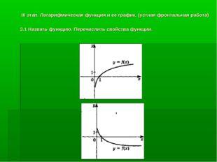 III этап. Логарифмическая функция и ее график. (устная фронтальная работа) 3