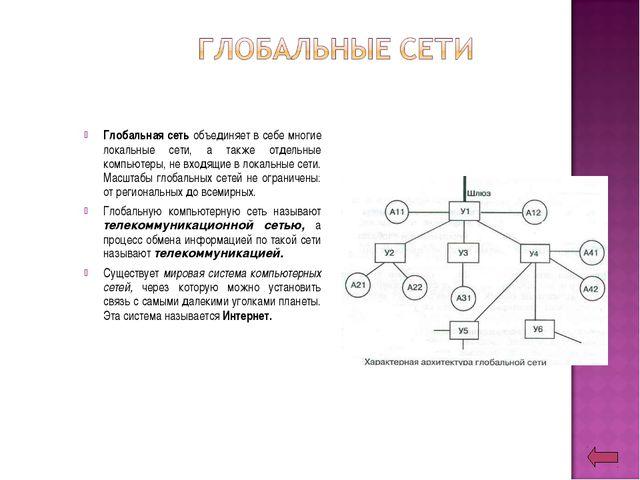 Глобальная сеть объединяет в себе многие локальные сети, а также отдельные ко...