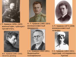 В. П. Кравков (1859–1920) военный врач, публицист-просветитель. Н. П. Кравков