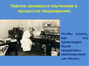 Павлов занимался изучением и процессов пищеварения. Чтобы узнать, как это про