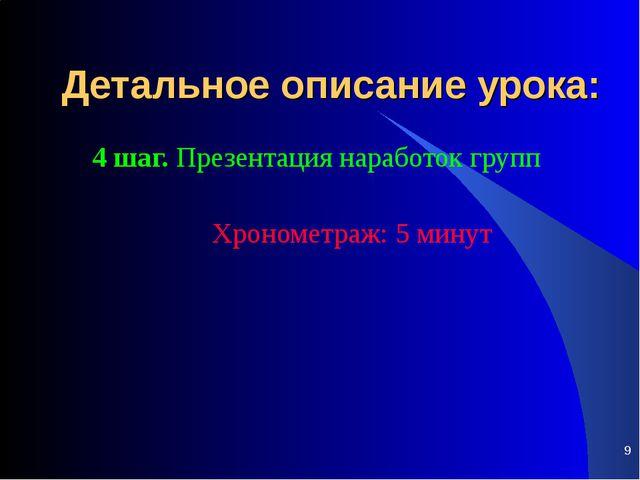 * Детальное описание урока: 4 шаг. Презентация наработок групп Хронометраж:...
