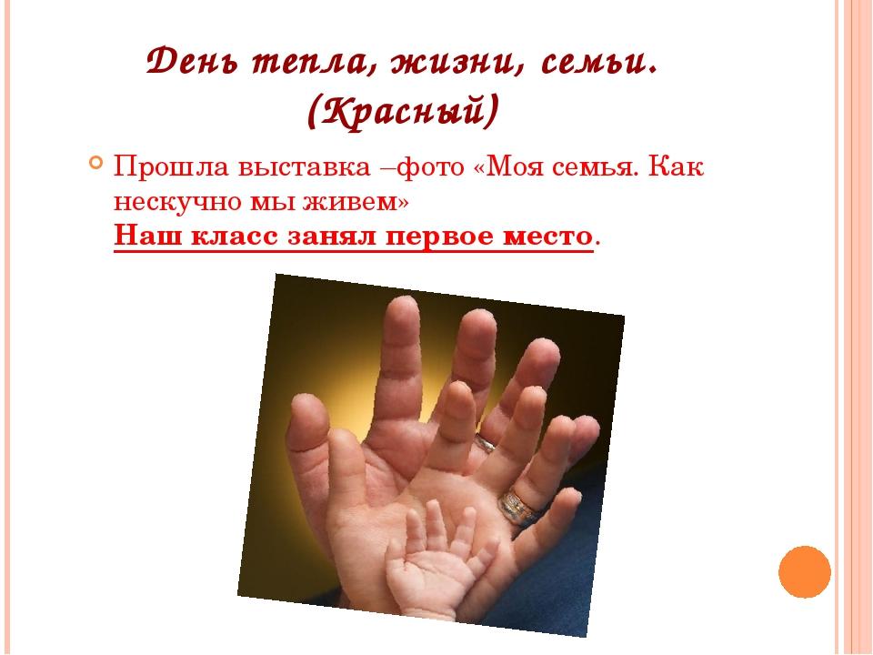 День тепла, жизни, семьи.(Красный) Прошла выставка –фото «Моя семья. Как неск...