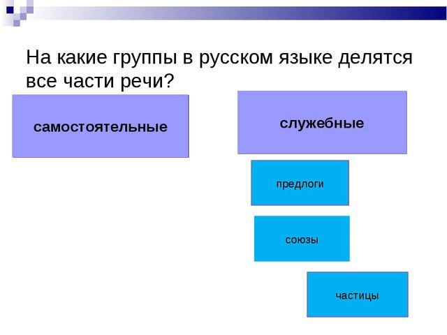 На какие группы в русском языке делятся все части речи? самостоятельные служе...