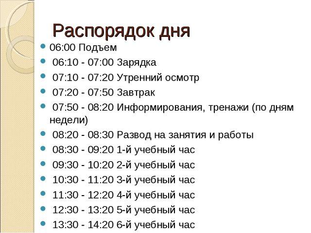 Распорядок дня 06:00 Подъем 06:10 - 07:00 Заpядка 07:10 - 07:20 Утpенний осмо...