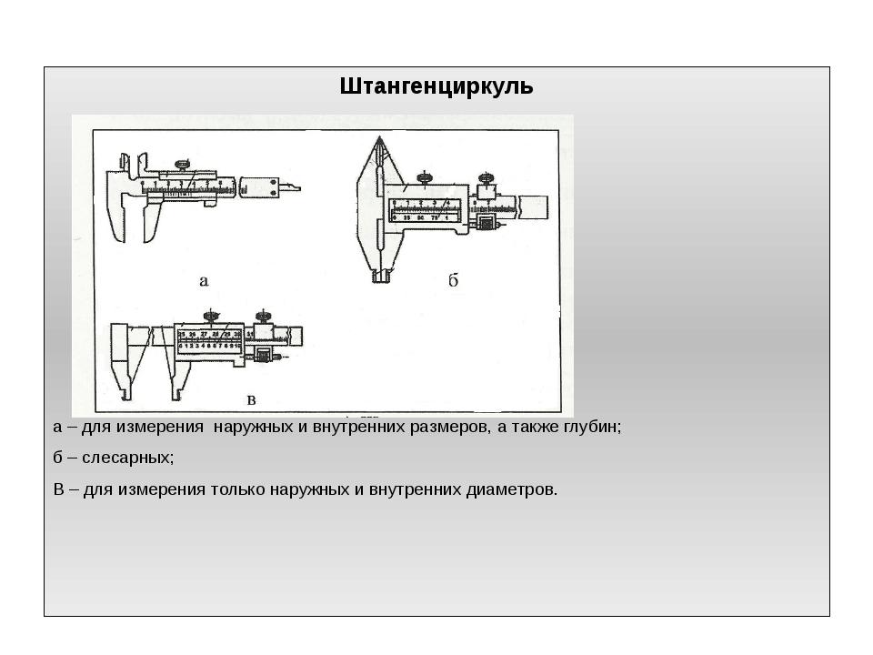 Штангенциркуль а – для измерения наружных и внутренних размеров, а также глуб...