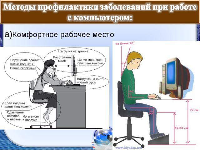 а)Комфортное рабочее место