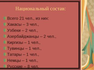 Национальный состав: Всего 21 чел., из них: Хакасы – 3 чел., Узбеки – 2 чел.,