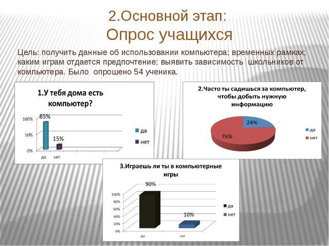 2.Основной этап: Опрос учащихся Цель: получить данные об использовании компью...