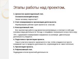 Этапы работы над проектом. 1. Ценностно-ориентационный этап. Основополагающий