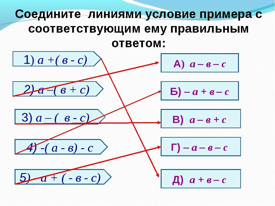 Соедините линиями условие примера с соответствующим ему правильным ответом: 1...