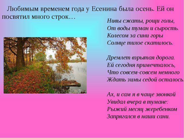 Любимым временем года у Есенина была осень. Ей он посвятил много строк… Нивы...