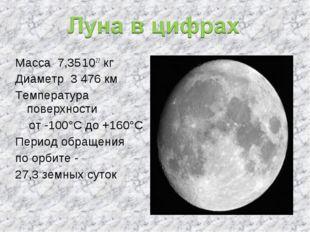 Масса 7,35.1022 кг Диаметр 3 476 км Температура поверхности от -100°С до +160