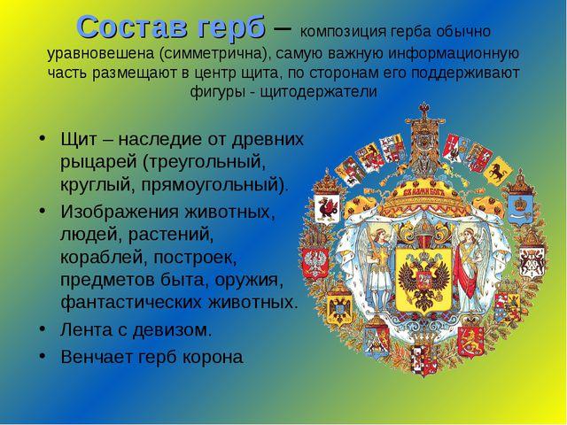 Состав герб – композиция герба обычно уравновешена (симметрична), самую важну...