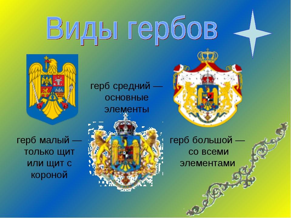 герб средний — основные элементы герб большой — со всеми элементами герб мал...