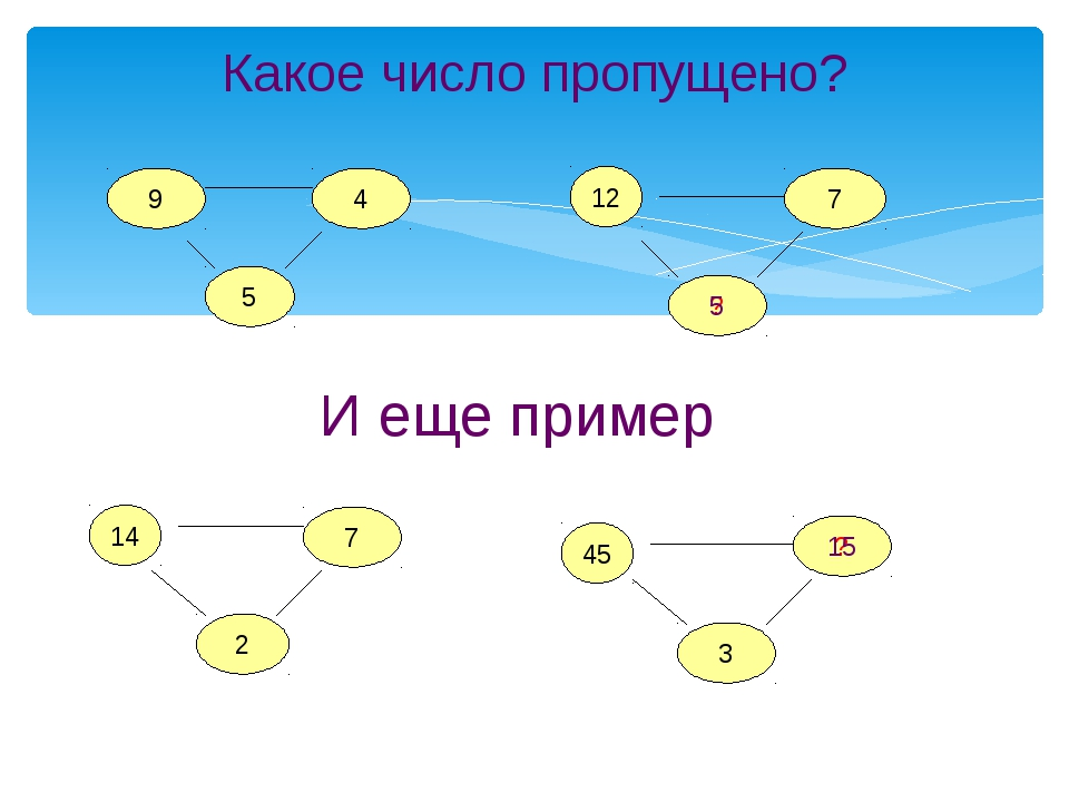 Какое число пропущено? 9 5 4 12 2 7 ? 14 7 45 ? 3 И еще пример 5 15