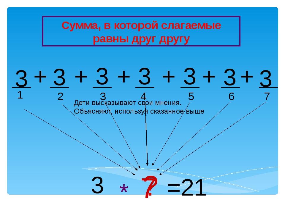 1 2 3 4 5 3 3 3 3 3 + + + + 3 ? * =21 + 3 + 3 6 7 7 Сумма, в которой слагаемы...