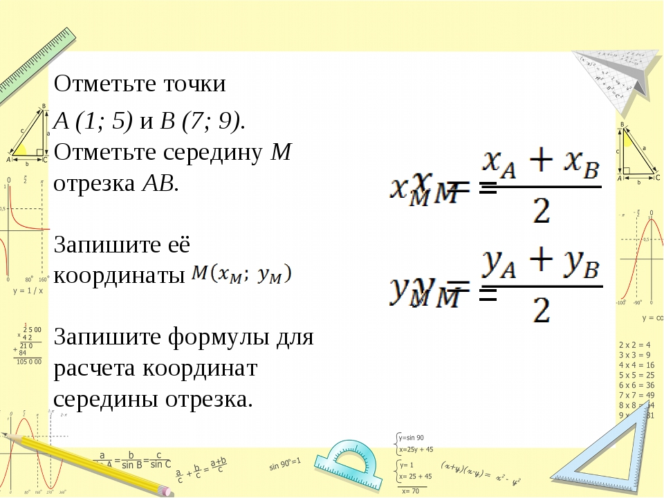 Отметьте точки A (1; 5) и B (7; 9). Отметьте середину M отрезка AB. Запишите...