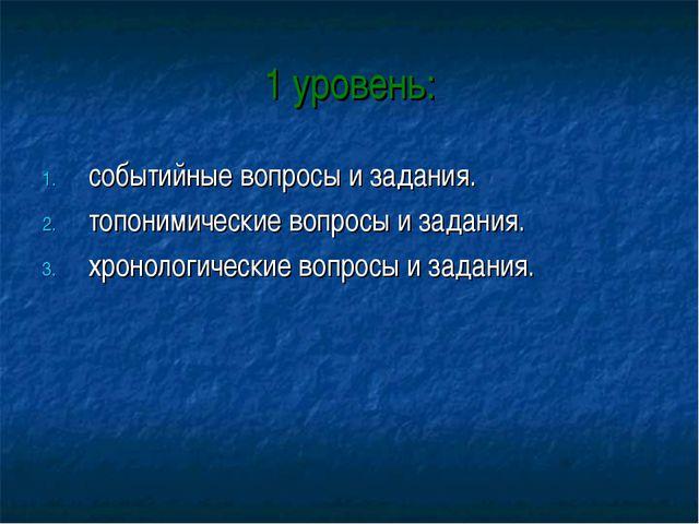 1 уровень: событийные вопросы и задания. топонимические вопросы и задания. хр...