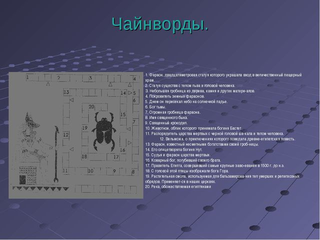 Чайнворды. 1. Фараон, двадцатиметровая статуя которого украшала вход в величе...