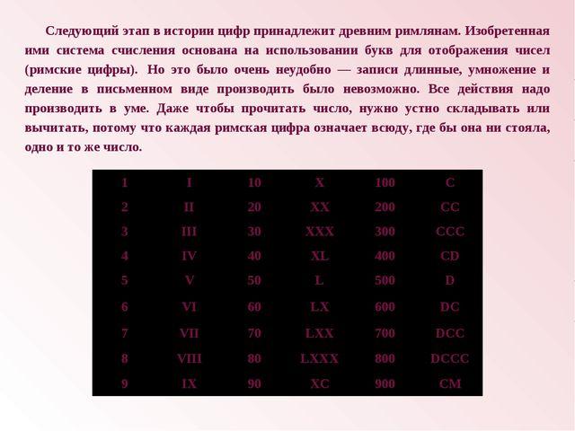 Следующий этап в истории цифр принадлежит древним римлянам. Изобретенная ими...
