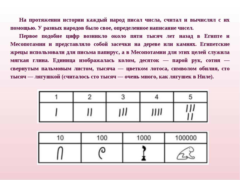 На протяжении истории каждый народ писал числа, считал и вычислял с их помощь...