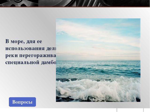 Вопросы В море, для ее использования дельту реки перегораживают специальной д...