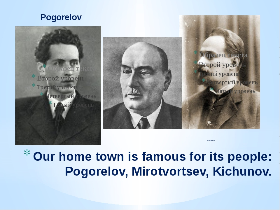 Pogorelov Mirotvortsev Our home town is famous for its people: Pogorelov, Mir...